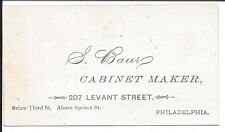 Business Card of Philadelphia Cabinet Maker, S. Baur, c1870s