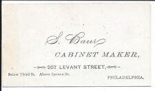 Business Card of Philadelphia Cabinet Maker, S. Baur, c1870s