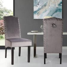2pcs Studded High Back Dining Chair Velvet Knocker Ring Kitchen Dinner Chairs