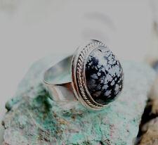 Silberring 67 Schneeflockenobsidian Handarbeit Kordel Silber Ring Schwarz Weiß