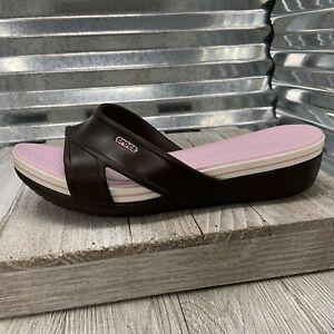 Corcs Slides Wedge Brown Strap Sandal Women's Size 11