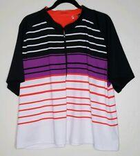 Nancy Lopez Size 3X MultiColor Stripe Zip Neck Golf Athletic Shirt Top Delux Dri