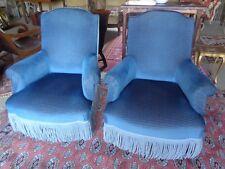 Paire Deux Fauteuils Crapauds Napoleon III color blue canard.