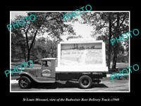 OLD LARGE HISTORIC PHOTO OF ST LOUIS MISSOURI, THE BUDWEISER BEER TRUCK c1940