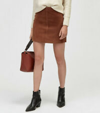 Warehouse Suede Leather Brown Pelmet Skirt Size 16 Was £60