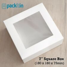 "7"" SQUARE WHITE WINDOW LID BOXES - 10 PACK - clothing food cakes - 180x180x75mm"