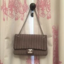 Gray Chanel Medium Flap Bag Silver Hardware