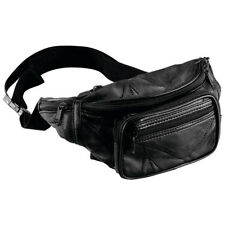 Fanny Pack Black Leather Waist Belt Bag Mens Womens Hip Travel Carry-On Pouch