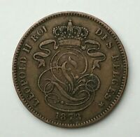 Dated : 1873 - Belgium - 2 Cents - Two Centimes Coin - Leopold II