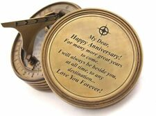 "3"" Nautical Brass Sundial Compass W Cover- Personalized Engraved Gift For Spouse"