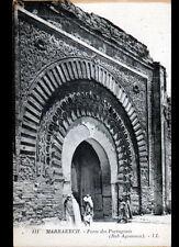 MARRAKECH (MAROC) PORTE des PORTUGAIS animée début 1900