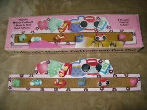 """NEW MAGNETIC MESSAGE CORK STRIP WITH PUSH PINS TEENAGE GIRL THEME 12"""""""