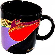 VINTAGE Laurel Burch marroquí Mares Caballos adornos dorados Negro Taza de café