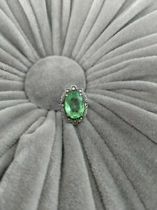 Vintage Uncas Sterling Silver Light Green Glass Marcasite Cocktail Ring Size 5