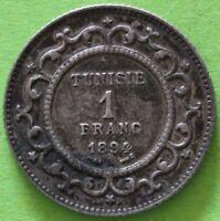 RARE TUNISIE 1 FRANC 1894 A ARGENT
