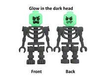 Lego 2x graues Skelett Vampir Kopf nachtleuchtend glow in the dark Minifigur Neu