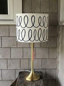 Kate Spade Charlotte Street Lamp ~ Gold Base with Blue and White Shade ~ New