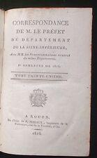1816 Correspondance Préfet Seine-Inférieure (imp. à Rouen) Normandie