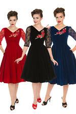 Hearts & Roses 50s Divine Velvet Swing Vintage Retro Party Red Black Dress UK