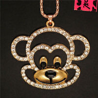 Betsey Johnson Gold Plated Crystal Enamel Monkey Head Necklace