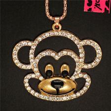 Betsey Johnson Gold Plated Crystal Enamel Monkey Head Necklace