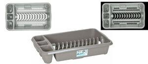 Plastic Grey High Grade Dish Drainer Plate Cutlery Holder Tray Rack Kitchen Sink
