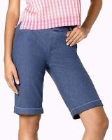 b628f6024f9be7 HUE U17490H Medium Wash Blue Essential Stretch Denim Cuffed Boyfriend Shorts