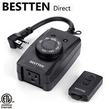 BESTTEN Outdoor Remote Countdown Timer Outlet w/ Light Sensor ETL / FCC Listed