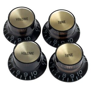 Set of 4 BLACK Bell Top Hat KNOBS w/ GOLD Reflectors for Gibson® USA, CTS®