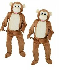 Adult Big Head Deluxe Monkey Mascot Fancy Dress Costume Jumbo Onesie Mens Ladies