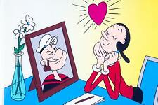 """Hand-painted prototype Cell """"Olive in Love!"""" ~ Popeye ~ Signed Myron Waldman"""