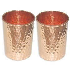 Set of-2 Pc Copper 300 ml Indian Drinking Glass Cup Tumbler Ayurveda Yoga Health