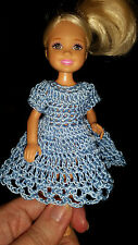 Hand crocheted Chelsea/Kelly Mattel doll clothes - Light Blue