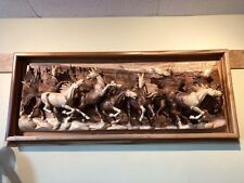 Horses handcrafted art wall with Utah Montana Canada Mountain back ground