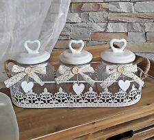 ❀ 3 x Vorratsglas Gläser Set Metall-Tablett Weiß + Deckel Keramik Windlicht