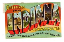 LINEN POSTCARD INDIANA PENNSYLVANIA PA LARGE LETTER ROLLING HILLS