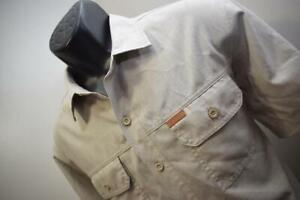 40252 Mens ORVIS Fishing Short Sleeve Beige Polyester Camp Shirt Size Medium