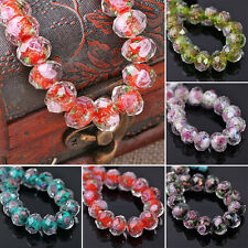 10pcs 8mm Rondelle Lampwork Flower Glass Loose Beads For Jewelry Making