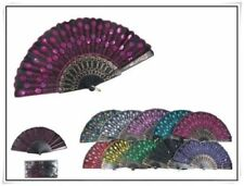 12pc Spanish Party Dance Folding Black Sequin Hand Fan with gift bag wedding fav