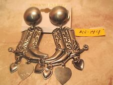 Vintage Old/New Store Inventory Large Bucking Horse Earrings with Dangles
