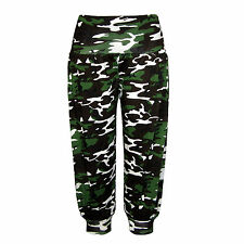 New Ladies 3/4 Camouflage Print Ali Baba Harem Pants Womens Trousers Size S-XXL