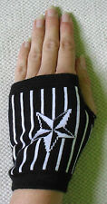 BLACK NAUTICAL STAR STRIPE WRIST GLOVES PUNK CYBER XMAS STOCKING FILLER PRESENT