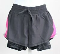 Champion women's small dark grey pink Duo Dry athletic bike shorts drawstring
