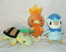 "Lot of 3 Pokemon Plush - 12"" Torchic Hasbro, 10"" Talking Piplup & Turtwig Jakks"