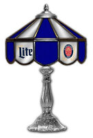 """Miller Lite Beer Stained Glass Mirror Table 14"""" Light  Lamp"""