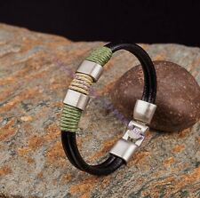 Handmade 2 TONE Hemp Braided Vintage Silver Clasp Genuine Leather Bracelet Cuff