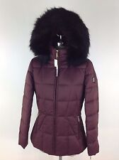 Calvin Klein New WT Burgundy Down Women's Jacket Hood Removable Faux fur size M