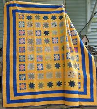 Vintage Feed Sack Stars Mustard Quilt Large and In Charge Estate Blue Calicos