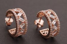 Turkish Jewelry Baguette Topaz Rose Gold 925 Sterling Silver Hoop Earrings