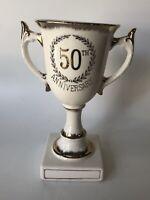 Porcelain Lefton China 50th Anniversary Pedestal Trophy Cup White Gold Vintage